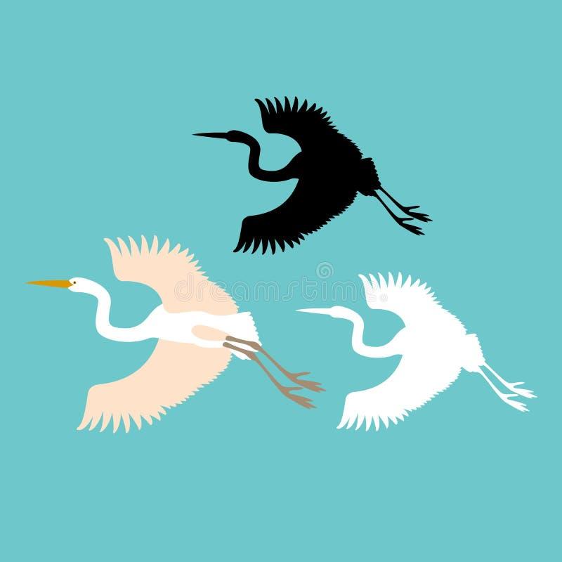 Van de de illustratiestijl van de kraanvogel het vector Vlakke silhouet stock fotografie