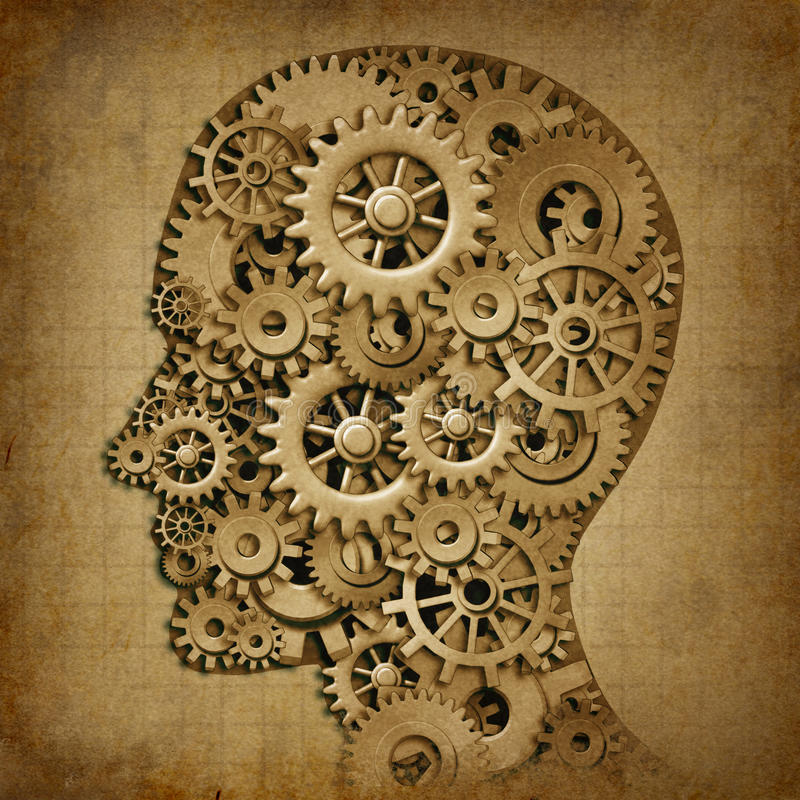 Van de de intelligentie grunge machine van hersenen het medische symbool stock illustratie