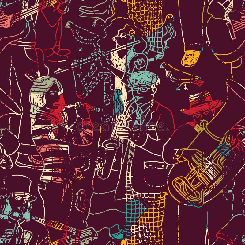 Van de de jazzband van de kleurenmuziek het naadloze patroon royalty-vrije illustratie
