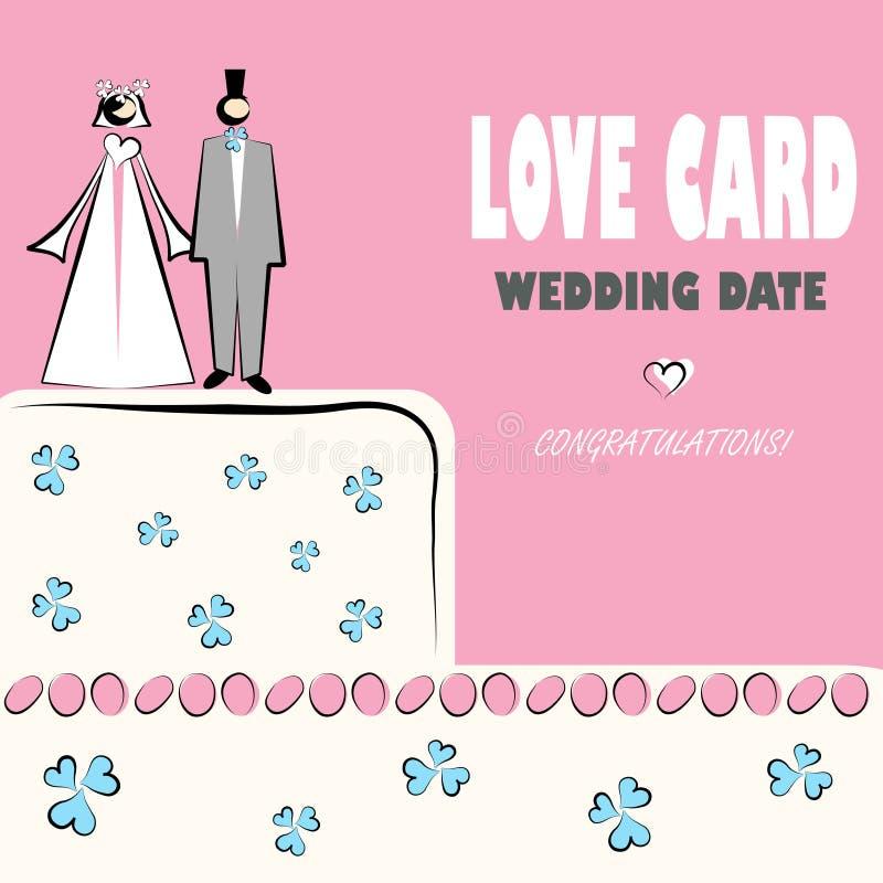 Van de de kaartliefde van het huwelijk de huwelijkenpictogrammen vector illustratie
