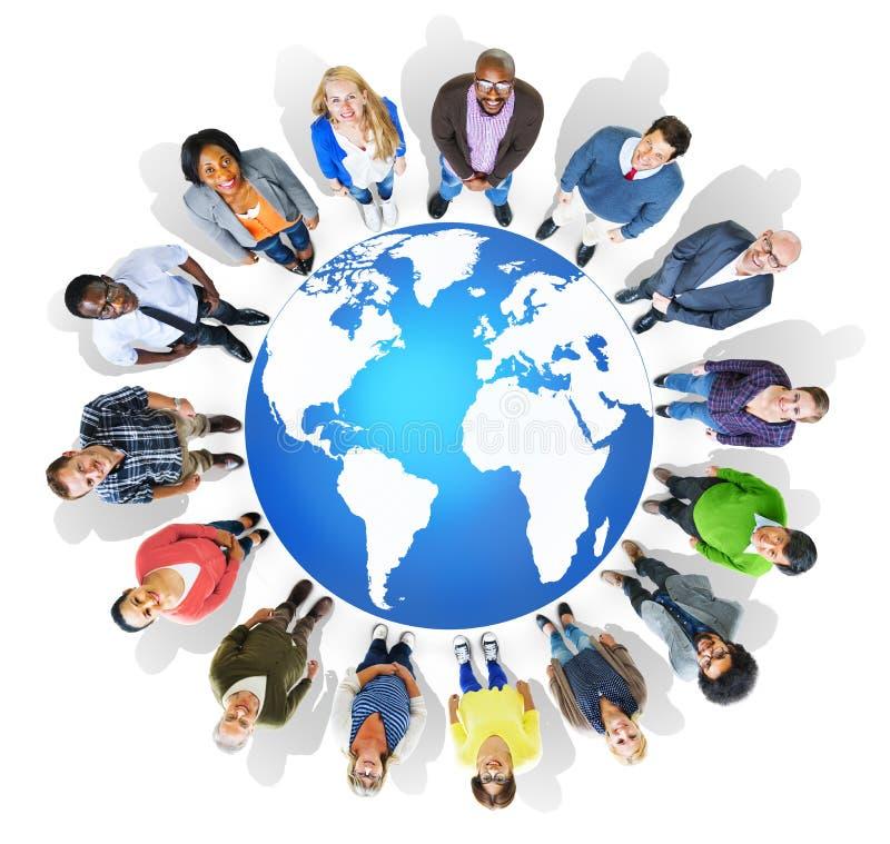 Van de de Kaartverbinding van de cartografiewereld de Globaliseringsconcept royalty-vrije illustratie
