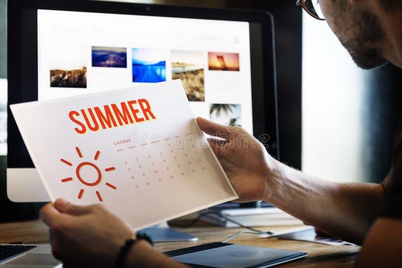 Van de de Kalenderzon van de de zomervakantie het Grafische Concept royalty-vrije stock foto's