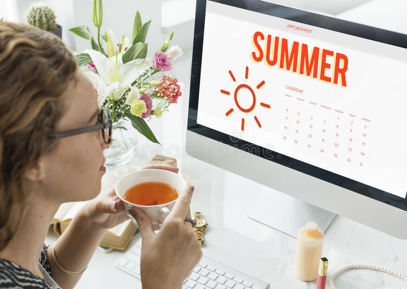 Van de de Kalenderzon van de de zomervakantie het Grafische Concept stock fotografie