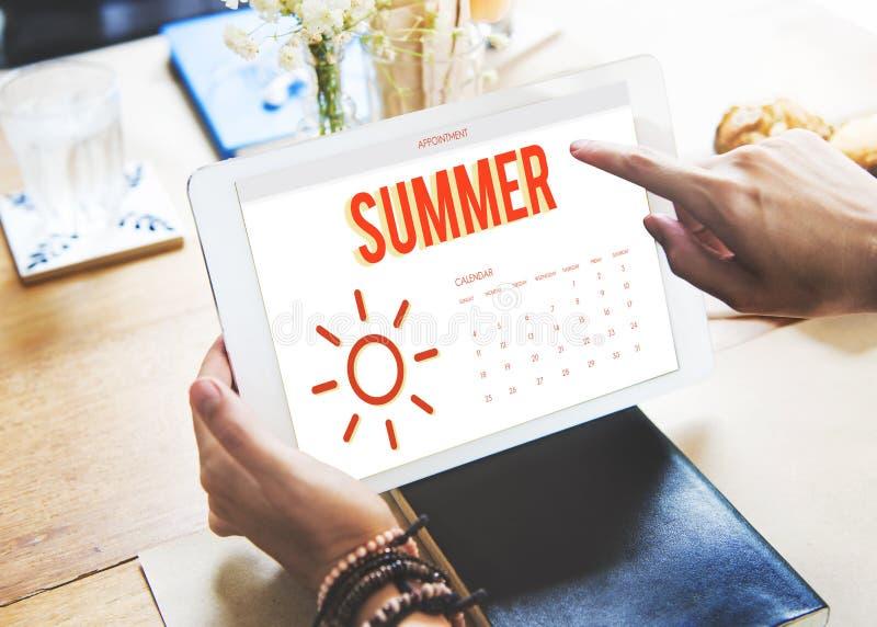 Van de de Kalenderzon van de de zomervakantie het Grafische Concept royalty-vrije stock afbeelding
