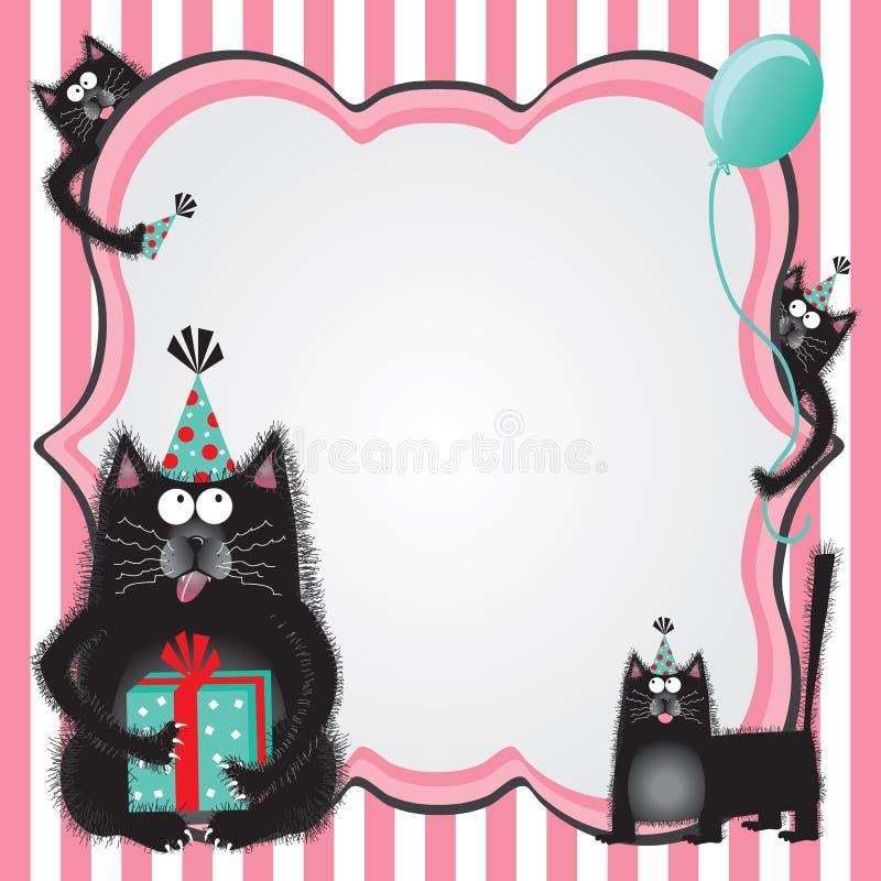 Van de de kattenverjaardag van de pot de partijuitnodiging vector illustratie