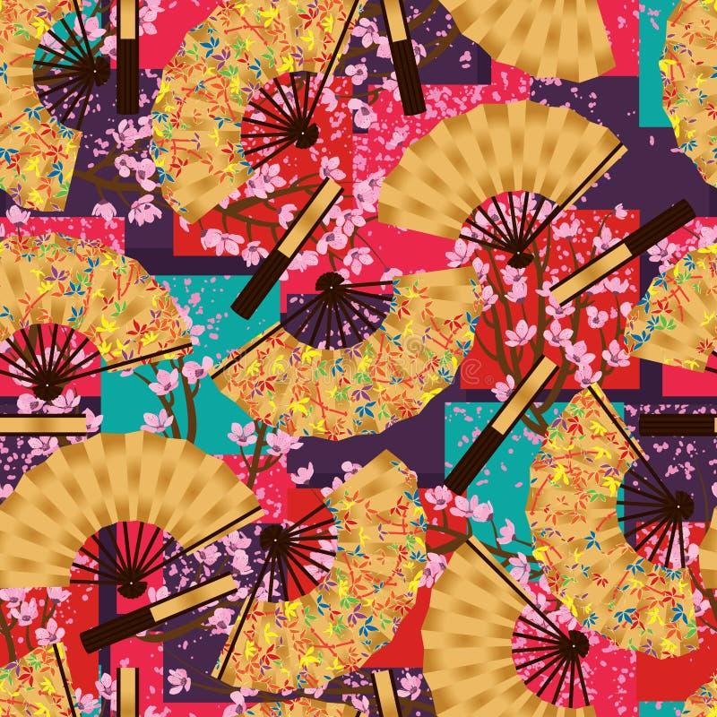 Van de de kersenorigami van de bamboeventilator het naadloze patroon vector illustratie