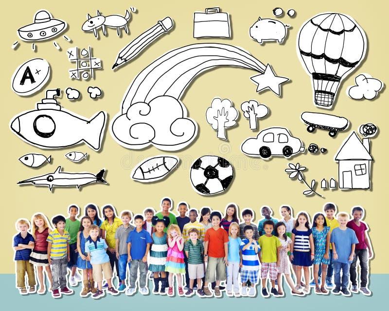 Van de de Kinderjarenvriendschap van kinderenjonge geitjes het Concept van de het Gelukdiversiteit royalty-vrije stock fotografie