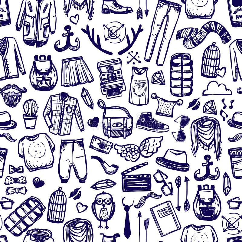 Van de de kledingskrabbel van de Hipstermanier het naadloze patroon stock illustratie