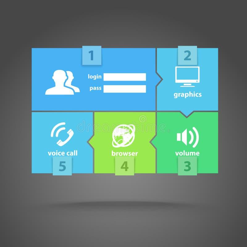 Van de de kleurentegel van het Web de interfacemalplaatje stock illustratie