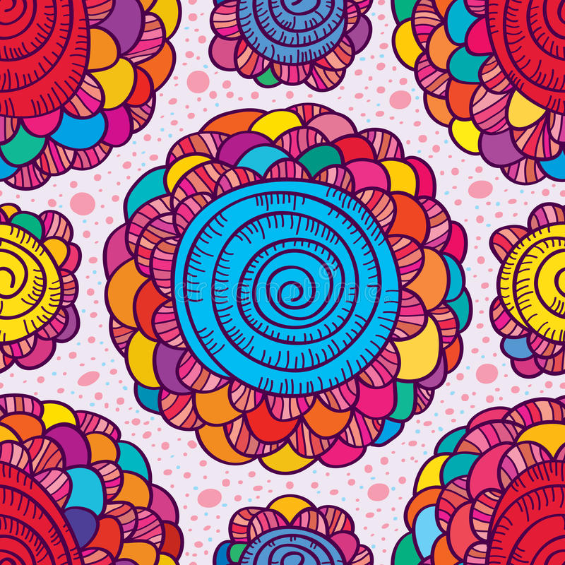 Van de de kleurenwerveling van de bloemtekening het naadloze patroon vector illustratie