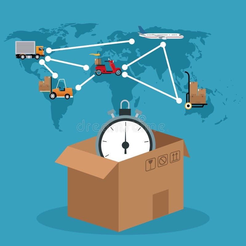 Van de de klokverbinding van de kartondoos globaal de leveringsconcept vector illustratie