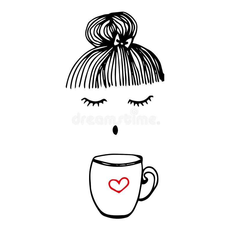 Van de de koffiedrank van de kopkoffie het vectorhaar van het de drankmeisje vrij royalty-vrije illustratie
