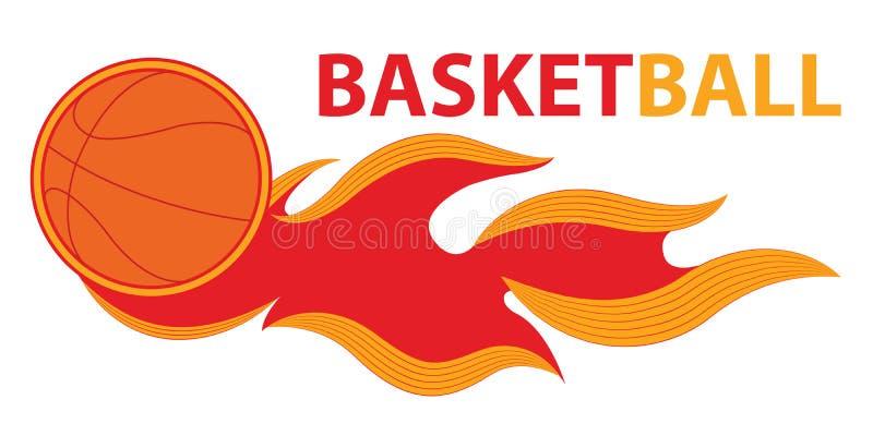 Van de de komeetbrand van de basketbalsport de staart vliegend embleem vector illustratie