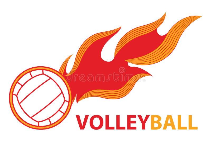 Van de de komeetbrand van de volleyballsport de staart vliegend embleem vector illustratie