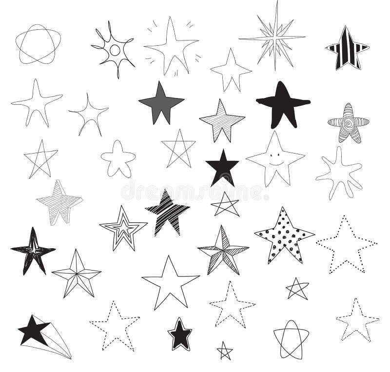 Van de de krabbellijn van het sterren vectorhand getrokken pictogram leuke de kunstillustratie royalty-vrije illustratie