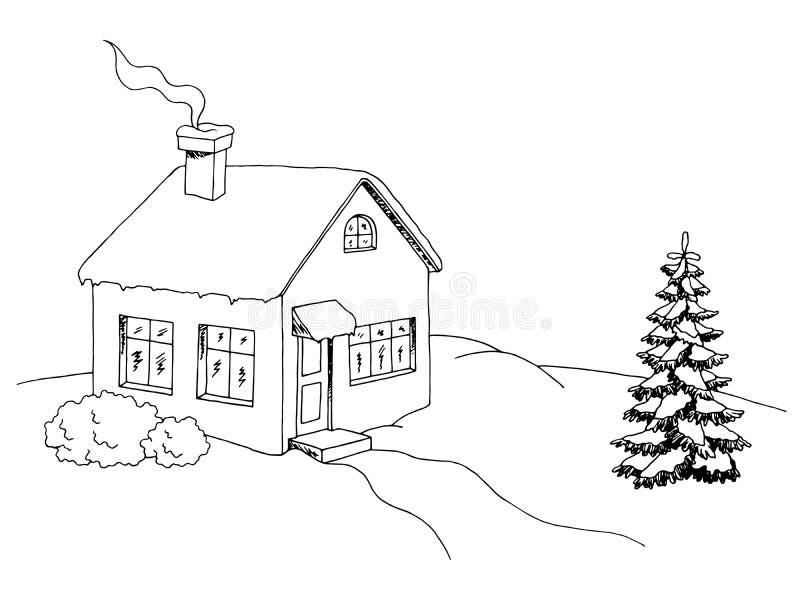 Van de de kunst zwarte witte schets van het de winterhuis grafische het landschapsillustratie vector illustratie