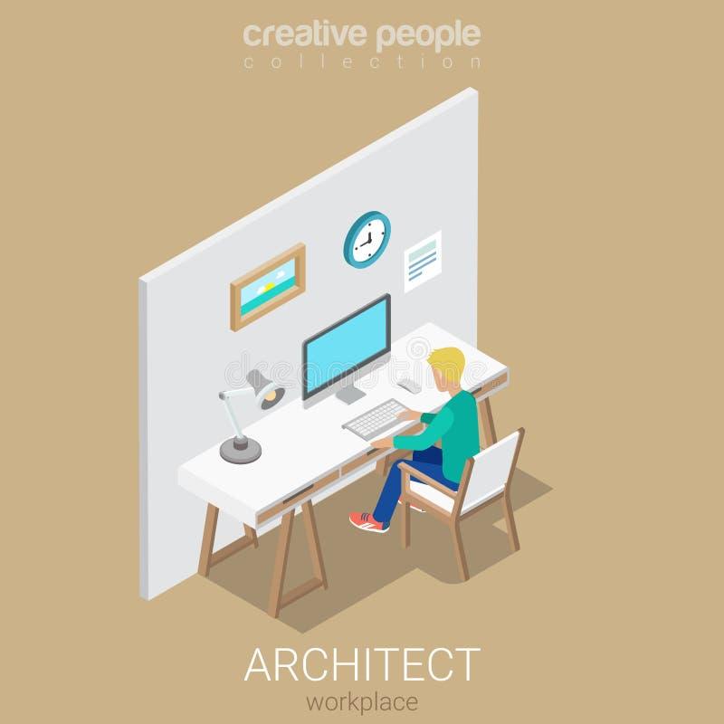 Van de de kunstenaarswerkplaats van de architectenontwerper het vector isometrische binnenland vector illustratie