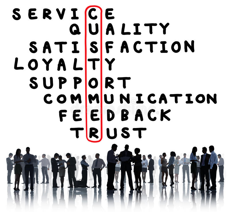 Van de de Kwaliteitstevredenheid van de klantendienst het Kruiswoordraadselconcept stock foto
