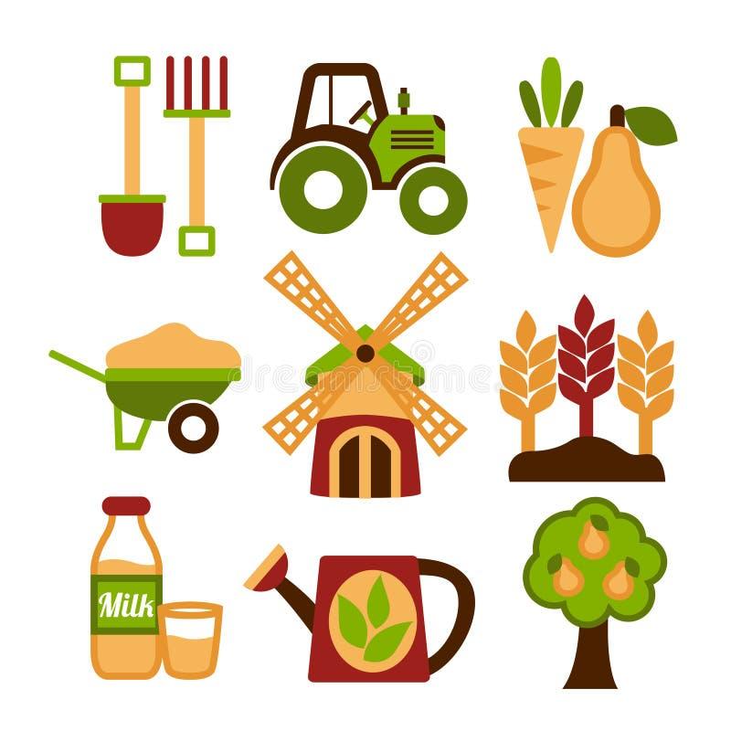 Van de de landbouw het Oogsten en Landbouw Geplaatste Pictogrammen stock illustratie