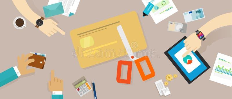 Van de de leningsschuld van de besnoeiingscreditcard persoonlijke de familiefinanciën vector illustratie