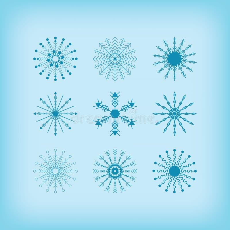 Van de de lijncirkel van het de winterdetail de sneeuwvlokkenpictogrammen op blauwe achtergrond worden geplaatst die royalty-vrije illustratie