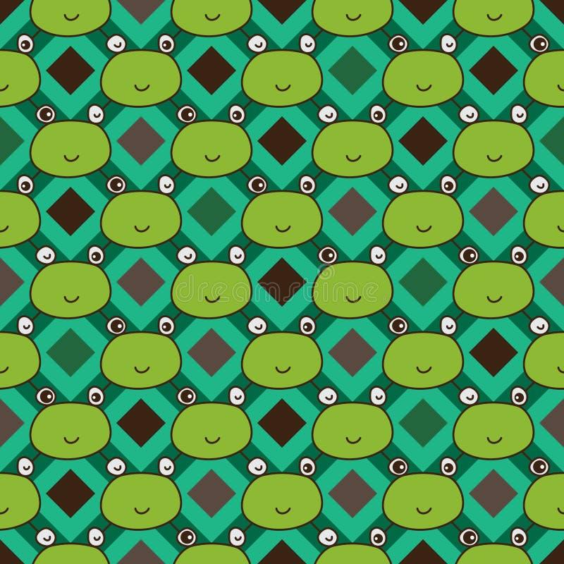 Van de de lijnkikker van de diamantvorm het hoofd naadloze patroon stock illustratie