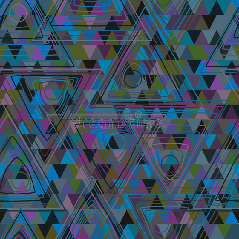 Van de de lijnkleur van de cirkeldriehoek het uitstekende naadloze patroon vector illustratie