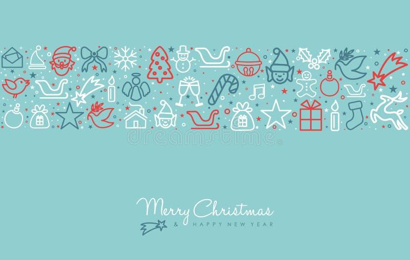 Van de de lijnkunst van de Kerstmisvakantie de kaart van de het pictogramgroet stock illustratie