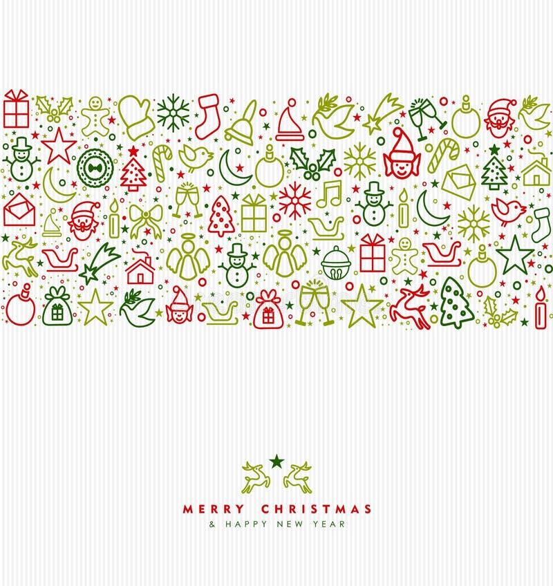 Van de de lijnkunst van de Kerstmisvakantie de kaart van de het pictogramgroet vector illustratie