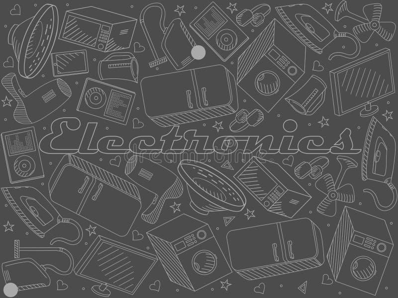 Van de de lijnkunst van het elektronikakrijt het ontwerp vectorillustratie royalty-vrije illustratie