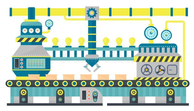 Van de de lijnverpakking van de fabriekstransportband industriële het kartondozen Robotachtig transportbandsysteem, Industriële m royalty-vrije illustratie