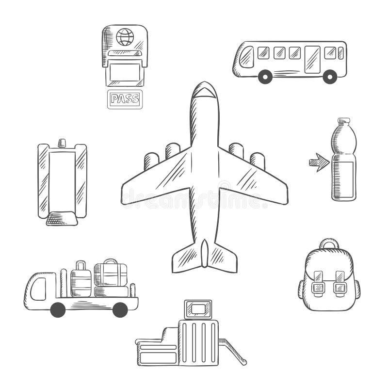 Van de de luchthavendienst en luchtvaart schetspictogrammen royalty-vrije illustratie