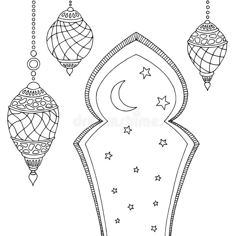 Van de de maanster van Ramadanlampen grafische zwarte witte de schetsillustratie