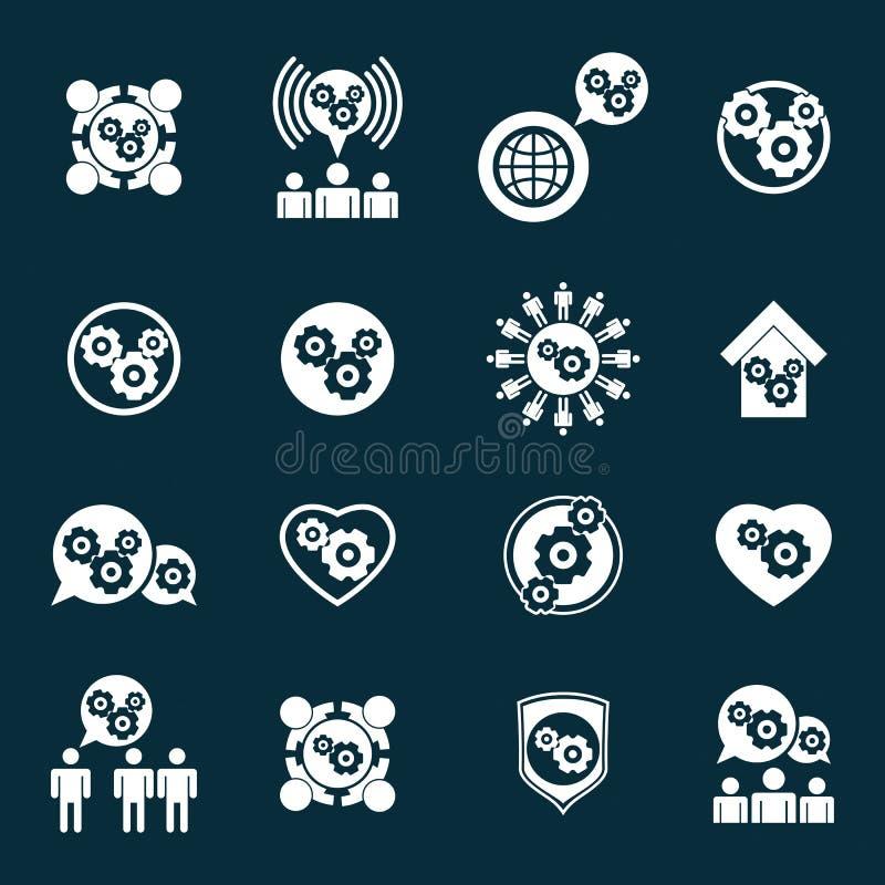 Van de de machtsontwikkeling en vooruitgang van het toestelsysteem thema ongebruikelijke pictogrammen vector illustratie