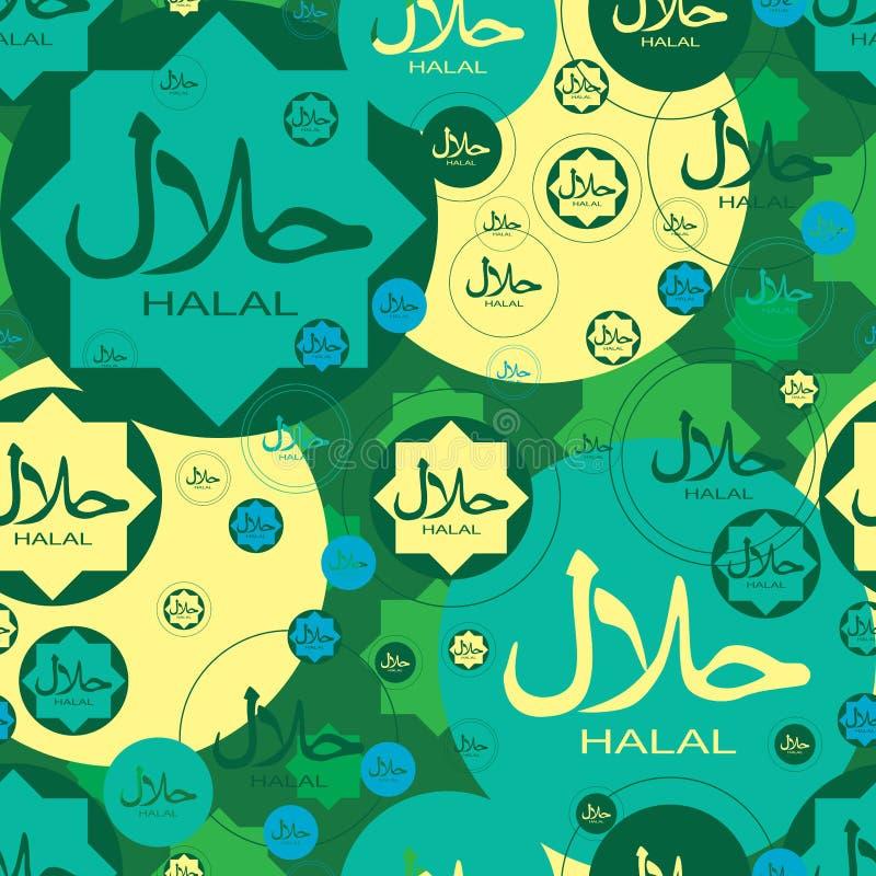 Van de de manierstijl van islamhalal het naadloze patroon stock illustratie