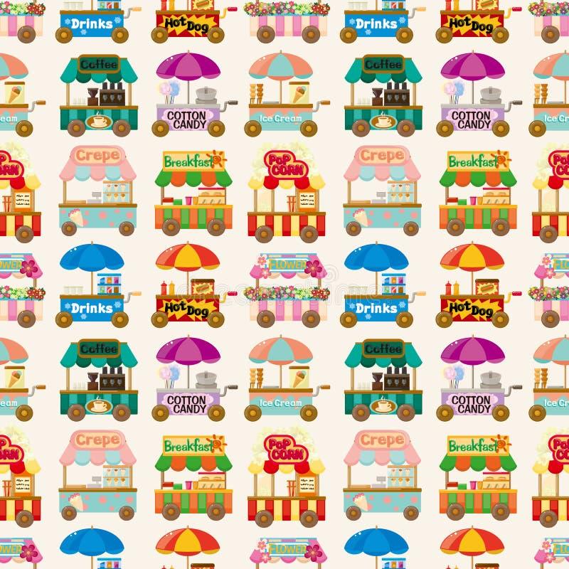 Van de de marktopslag van het beeldverhaal de auto naadloos patroon vector illustratie