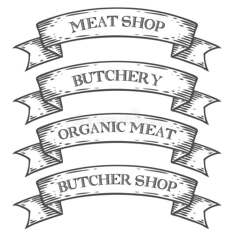 Van de de marktslachterij van de vleeswinkel het embleemlint Zwart-wit middeleeuwse vastgestelde uitstekende gravure royalty-vrije illustratie