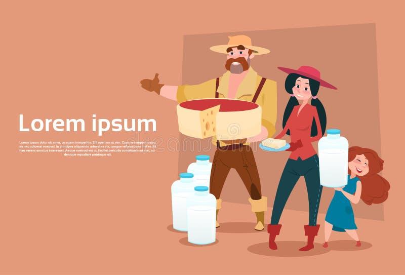 Van de de Melksters Verse Melk van de landbouwersfamilie van de Zuivelproducteneco de Landbouwbanner vector illustratie