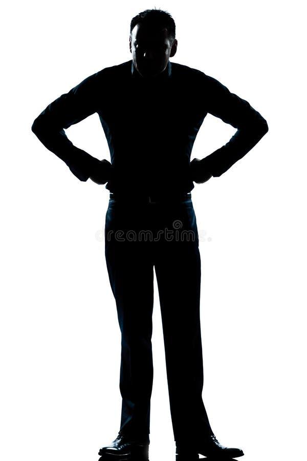 Van de de mensen de volledige lengte van het silhouet boze handen op heupen stock afbeelding