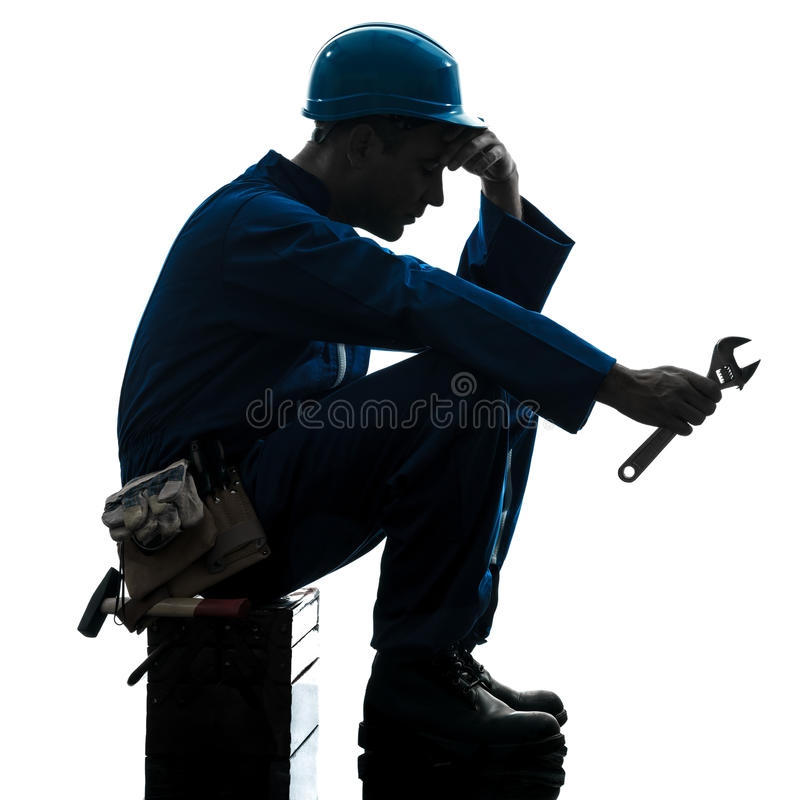 Van de de mensenarbeider van de reparatie silhouet van de de moeheidsmislukking het droevige stock foto's