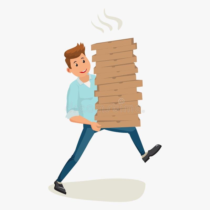 Van de de mensenholding van de pizzalevering het kartondozen vector illustratie