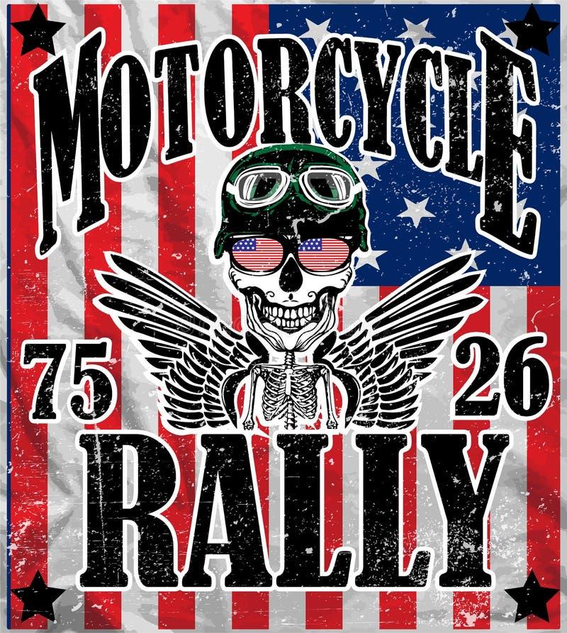 Van de de Mensent-shirt van de motorfietsschedel het Grafische Vectorontwerp royalty-vrije illustratie