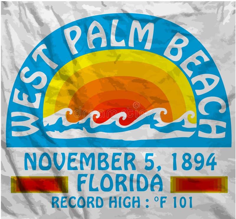 Van de de Mensent-shirt van de Palm Beachzomer het Grafische Vectorontwerp stock illustratie