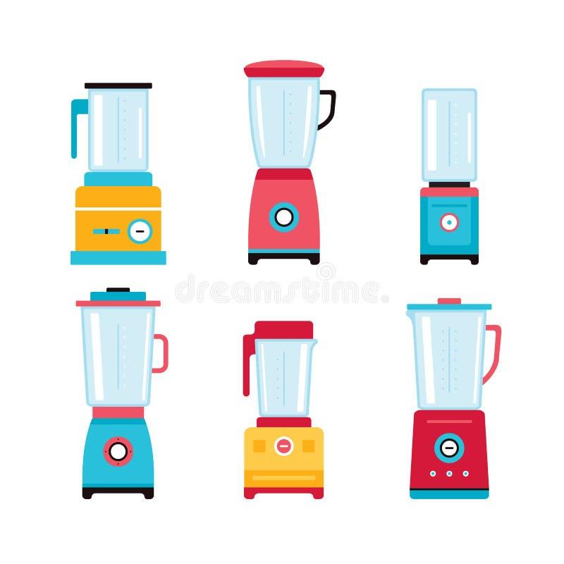 Van de de Mixerkeuken van mixerjuicer de reeks van het het toestellenpictogram op wit wordt geïsoleerd dat vector illustratie