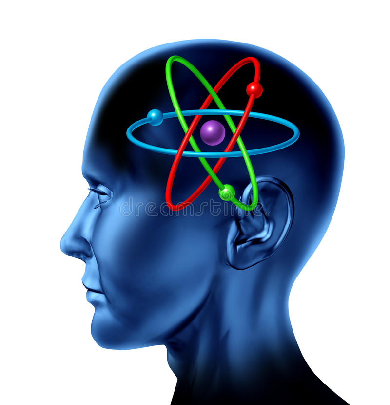 Van de de moleculewetenschap van het atoom van het symboolhersenen de wetenschappelijke mening vector illustratie