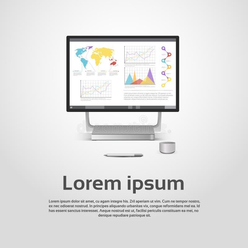 Van de de Monitor het Financiële Grafiek van Desktoplogo modern computer workstation icon Diagram Infographic vector illustratie