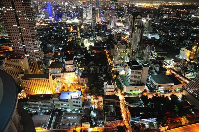 Van de de nachtstad van Thailand Bangkok de hemelmening royalty-vrije stock foto's