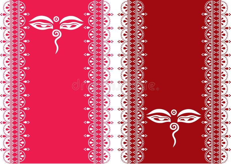 Van de de ogen de oosterse henna van Boedha verticale banners royalty-vrije illustratie