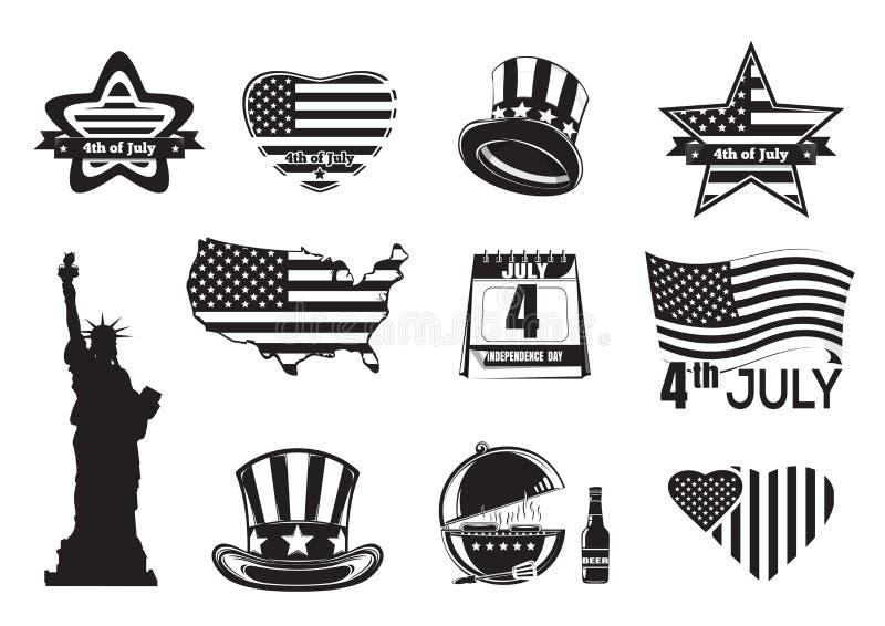 Van de de Onafhankelijkheidsdag van de V.S. zwart-wit het pictogramreeks royalty-vrije illustratie