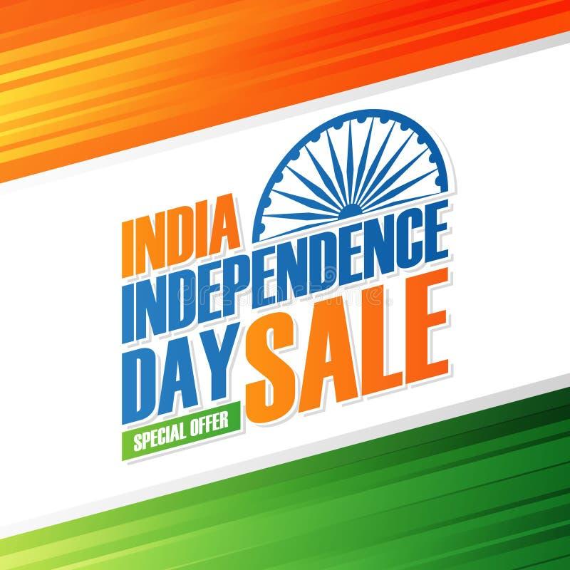 Van de de Onafhankelijkheidsdag van India de banner van de de Vakantieverkoop Speciale aanbiedingachtergrond in Indische national stock illustratie